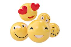 Emojis icons with facial expressions social media concept isolat. Ed white.3D illustration Stock Photography