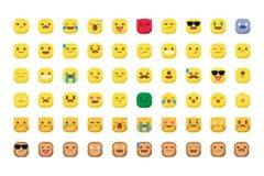Emojis lindos con el vector sonriente del gato y del mono aislado imágenes de archivo libres de regalías
