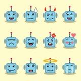 Emojis robota płaski set Fotografia Royalty Free