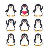 Emojis set, penguin character Royalty Free Stock Photos