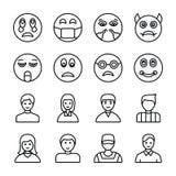 Emojis und Avataras zeichnen Ikonen stock abbildung