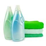 Emoliente da tela em dois frascos e toalhas Fotos de Stock