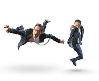 Emoção ativa engraçada do homem de negócio no fundo branco Imagens de Stock Royalty Free