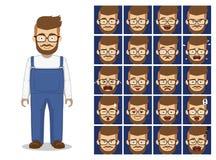 A emoção dos desenhos animados dos vidros da barba do moderno enfrenta a ilustração do vetor Imagens de Stock