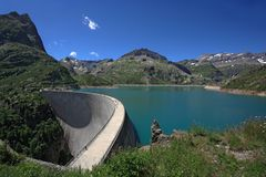 Emosson dam in Switzerland Stock Photos