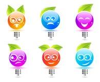 Emotic Glühlampen Lizenzfreie Stockfotos