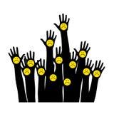 emoticon λυπημένος Λυπημένο εικονίδιο προσώπου χέρια αέρα Στοκ εικόνα με δικαίωμα ελεύθερης χρήσης