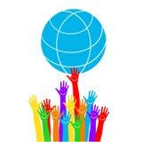 Emoticon στο φοίνικα Χέρια με τη γη, τους ανθρώπους του κόσμου που κρατά τη σφαίρα, την επίπεδη διανυσματική αυτοκόλλητη ετικέττα Στοκ φωτογραφία με δικαίωμα ελεύθερης χρήσης