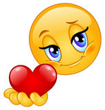 emoticon δίνοντας την καρδιά Στοκ Εικόνα