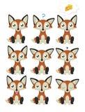Σύνολο Emoticon αλεπούδων Στοκ φωτογραφία με δικαίωμα ελεύθερης χρήσης