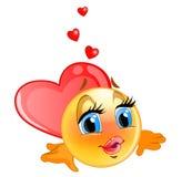 Emoticon amato, con fondo blu per il messaggero illustrazione di stock