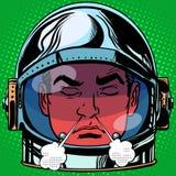 Emoticon anger rage Emoji face man astronaut retro Royalty Free Stock Image