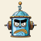 Emoticon angry emoji robot head smiley emotion. Pop art retro style. Human emotions. Icon symbol. Technology and artificial intelligence Stock Photos