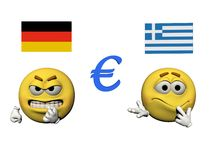 Emoticon angry and euro - 3d render. Emoticon yellow angry and euro blue - 3d render Stock Photos