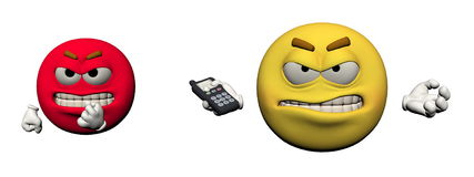 Emoticon angry and telephone - 3d render. Emoticon angry and telephone  in white background Royalty Free Stock Photo
