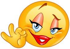 Emoticon aprovado da fêmea do sinal ilustração stock