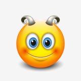 Emoticon bonito do aries, emoji - sinal astrológico - horóscopo - zodíaco - vector a ilustração ilustração do vetor