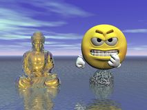 Emoticon and buddha - 3d render. Emoticon irritated against buddha yellow Stock Photography