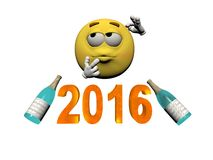 Emoticon and champagne 2016 - 3d render Stock Photo