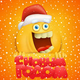Emoticon character in santa claus hat. Emoticon character yellow smiley face in santa claus hat  illustration Royalty Free Stock Photography