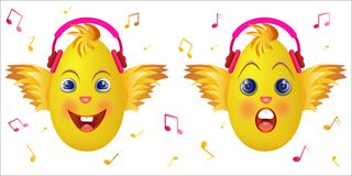 Emoticon chick with pink music headphones Stock Image