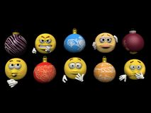 Emoticon and christmas ball - 3d render Royalty Free Stock Photos