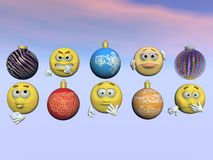 Emoticon and christmas ball - 3d render Royalty Free Stock Photography