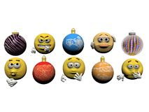 Emoticon and christmas ball - 3d render Royalty Free Stock Images