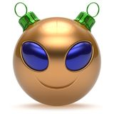 Emoticon Christmas ball smiley alien face Happy New Year. `s Eve bauble cartoon cute decoration golden. Merry Xmas cheerful funny smile person character toy Stock Image