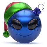 Emoticon christmas ball smiley alien face Happy New Year. 's Eve bauble cartoon cute decoration blue. Merry Xmas cheerful funny smile Santa hat person character Stock Photography