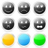 Emoticon circle icon set Stock Image