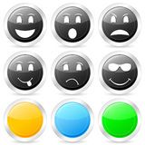 Emoticon circle icon set 2 Royalty Free Stock Images