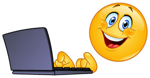Emoticon with computer Royalty Free Stock Image