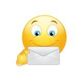 Emoticon con el sobre stock de ilustración