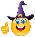 Emoticon con el sombrero de la bruja Fotos de archivo libres de regalías