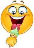 Emoticon con helado ilustración del vector