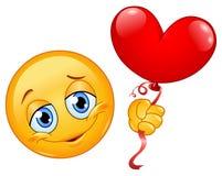 Emoticon con l'aerostato del cuore Fotografia Stock