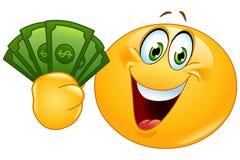 Emoticon con los dólares stock de ilustración
