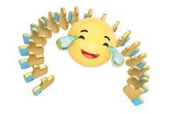 Emoticon con los rasgones de la alegría y del oro como arsenal del símbolo illustr 3d Foto de archivo libre de regalías