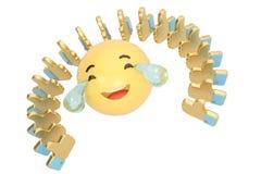 Emoticon con los rasgones de la alegría y del oro como arsenal del símbolo illustr 3d Foto de archivo