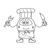 Emoticon cook sketch Stock Photography