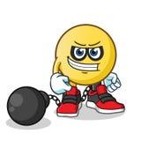 Emoticon criminal mascot vector cartoon illustration. This is an original character Royalty Free Stock Photos