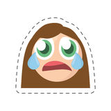 Emoticon cry female comic image. Illustration eps 10 Stock Photo