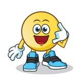 Emoticon customer service mascot vector cartoon illustration. This is an original character Royalty Free Stock Photos
