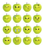 Emoticon cute face - The green apple isolate on white background Royalty Free Stock Images