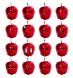 Emoticon cute face - The Red apple isolate on white background Stock Photos