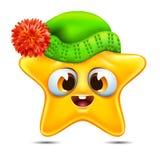Emoticon da estrela em um chapéu do inverno Fotografia de Stock