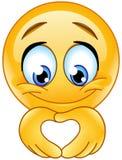 Emoticon da mão do coração ilustração royalty free