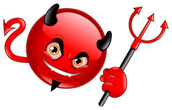 Emoticon del diavolo Fotografia Stock