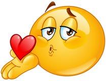 Emoticon del varón del beso que sopla ilustración del vector